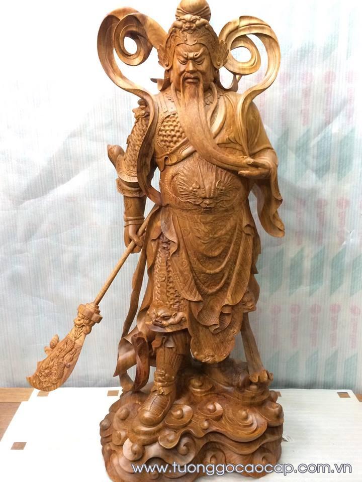 Tượng Quan Công gỗ hương 100x45x33cm
