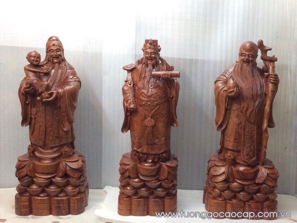 Tượng Tam Đa gỗ hương đẹp 80x30x25cm