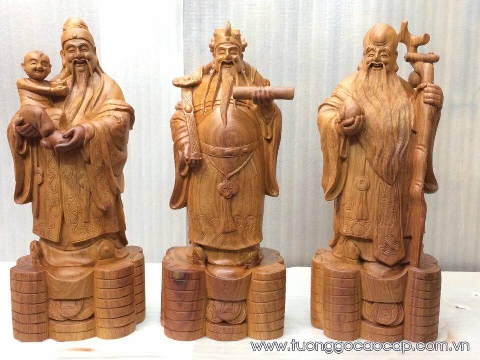 Tượng tam đa gỗ hương đẹp 50x20x18cm