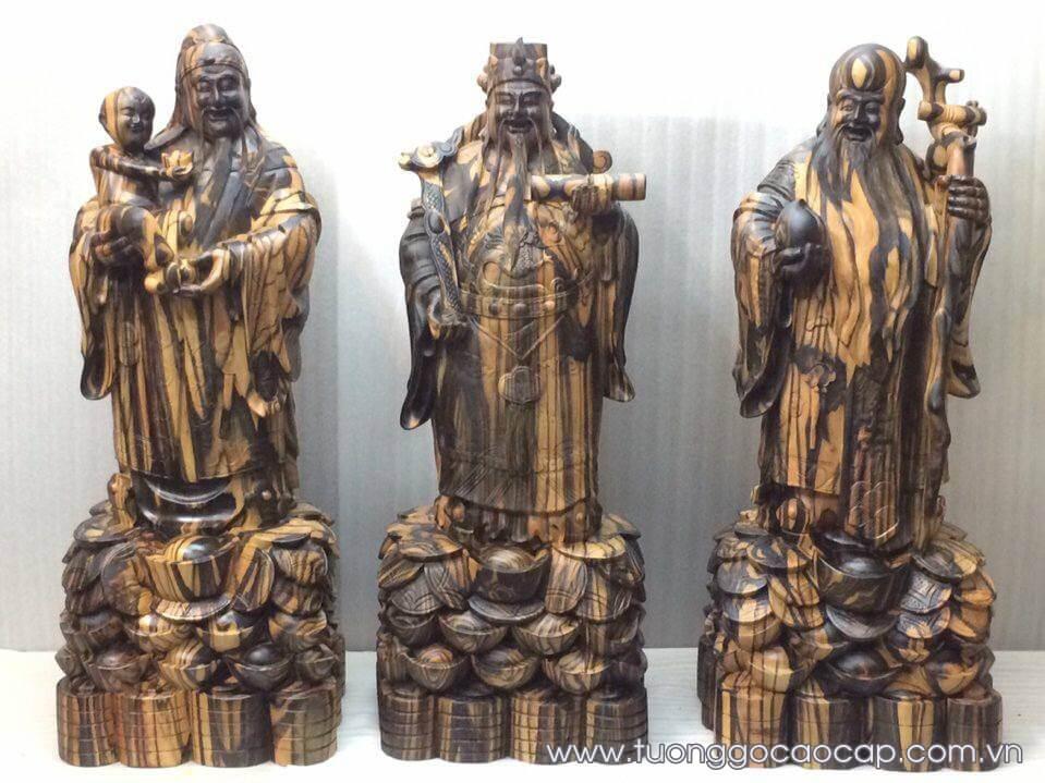 Tượng Tam Đa - Phúc Lộc Thọ gỗ mun hoa 80x30x26cm