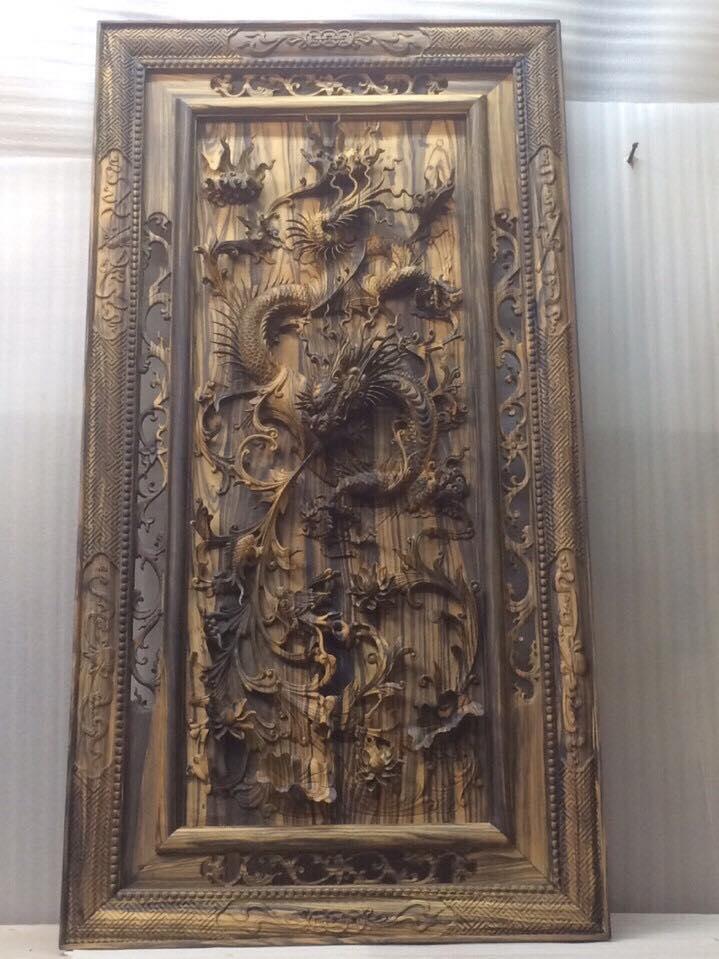 Tranh nhất long gỗ mun hoa 130x70x7cm