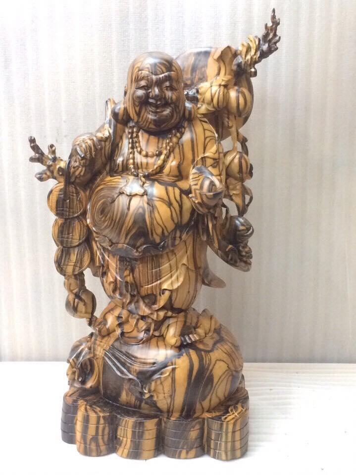 Tượng phật Di Lặc đẹp gỗ mun hoa60x33x20cm