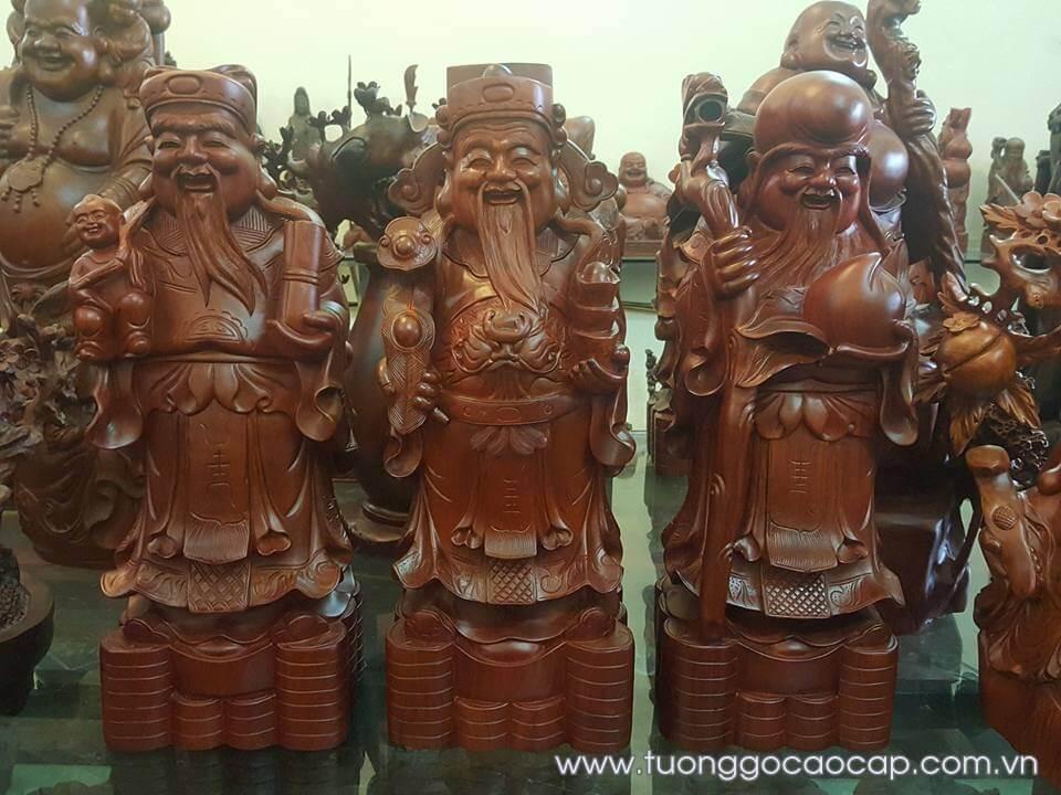 Tượng Tam Đa - Phúc Lộc Thọ gỗ hương 60x22x18cm