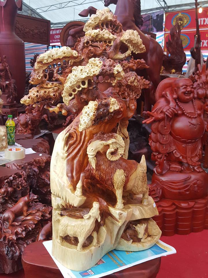 Tượng Dê Tam Dương gỗ hương 90x45x22cm