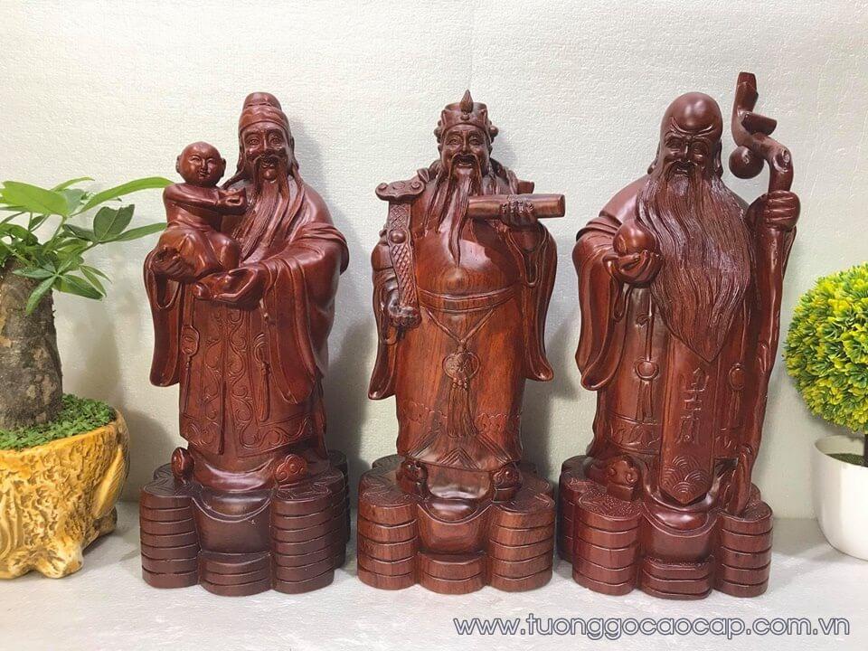 Tượng Phúc Lộc Thọ gỗ hương 40x15x14cm