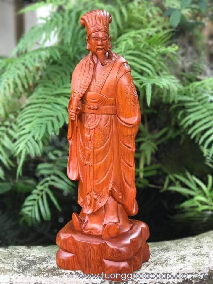 Tượng Khổng Minh gỗ hương 50x17x13cm