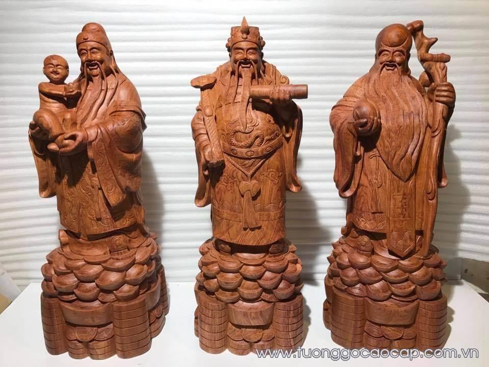 Tượng Tam Đa gỗ hương vân cực đẹp 70x25x22cm