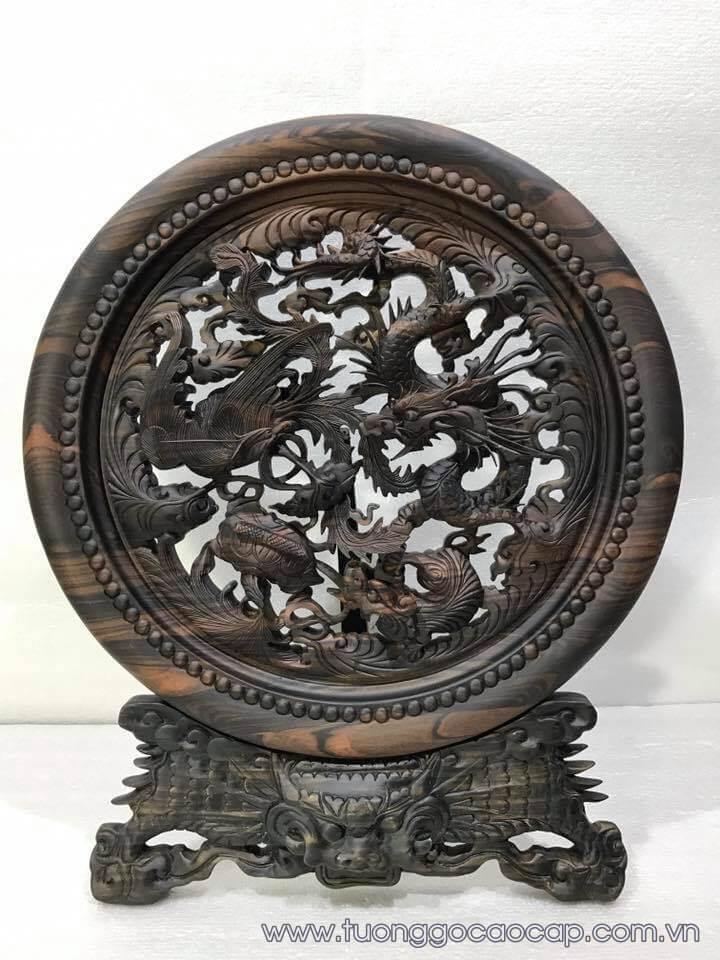 Đĩa tứ linh gỗ mun hoa đục tinh xảo 50x40x3.5cm