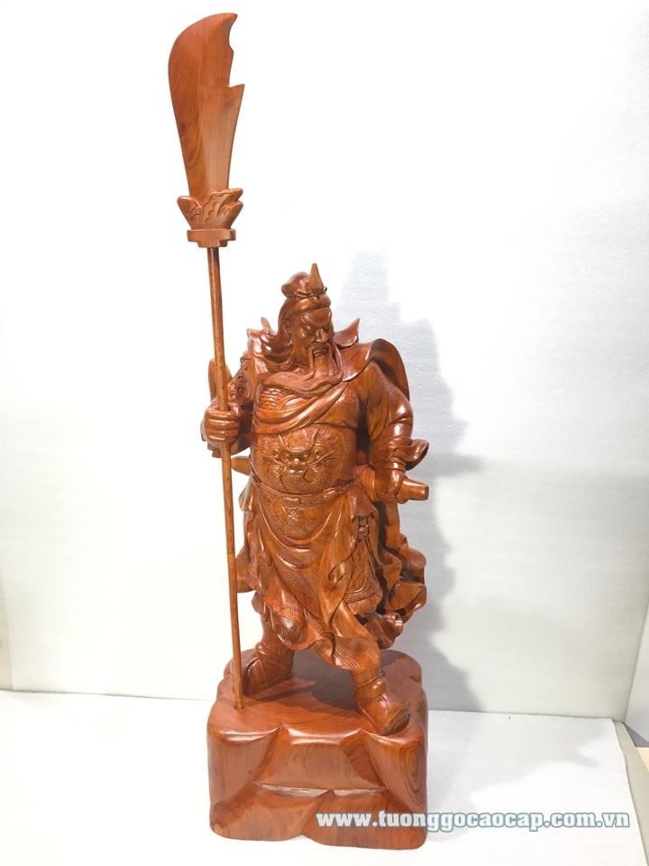 Tượng Quan Công trấn ải gỗ hương 82x32x24cm