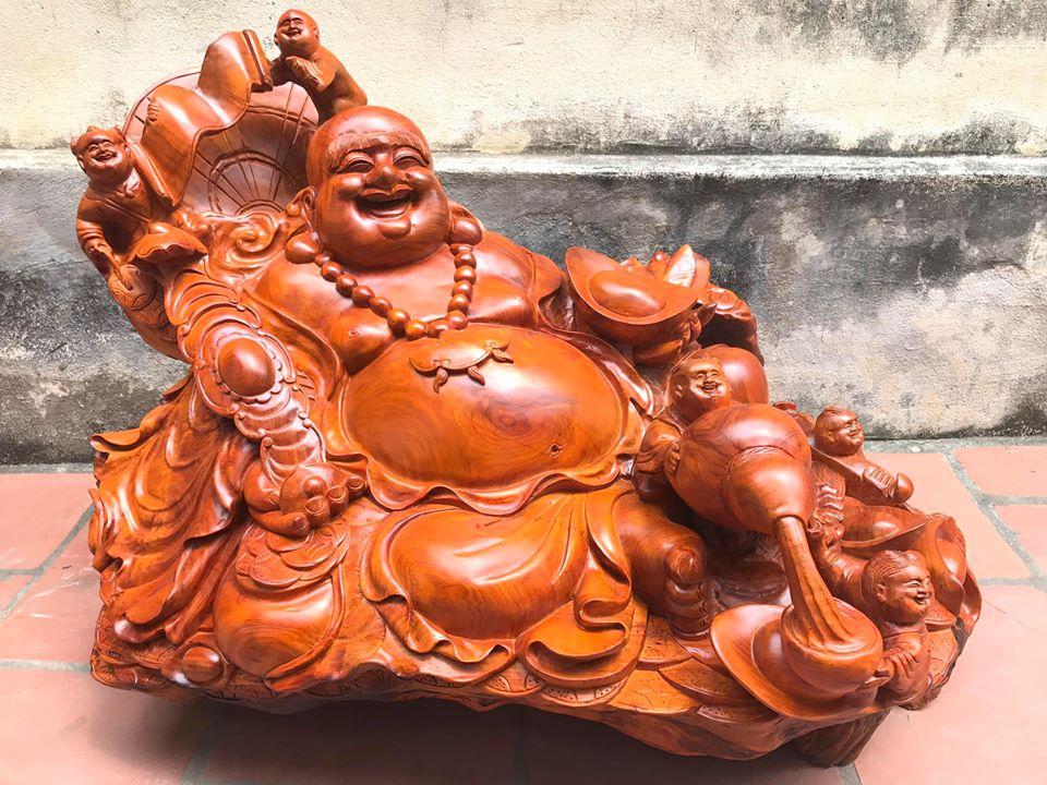 Tượng Di Lặc ngũ phúc gỗ hương 66x92x60cm