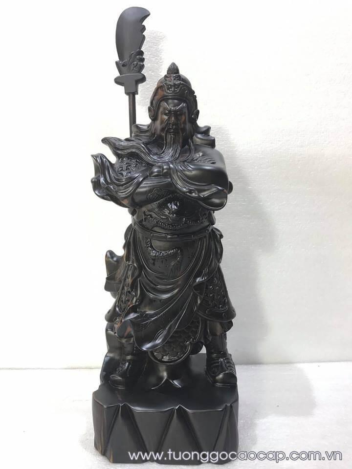 Tượng Quan Công gỗ mun đẹp 40x18x16cm