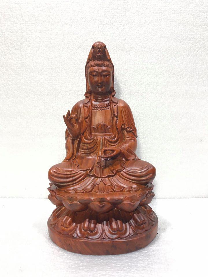 Tượng phật Quan Âm để bàn gỗ hương 23x14x13cm