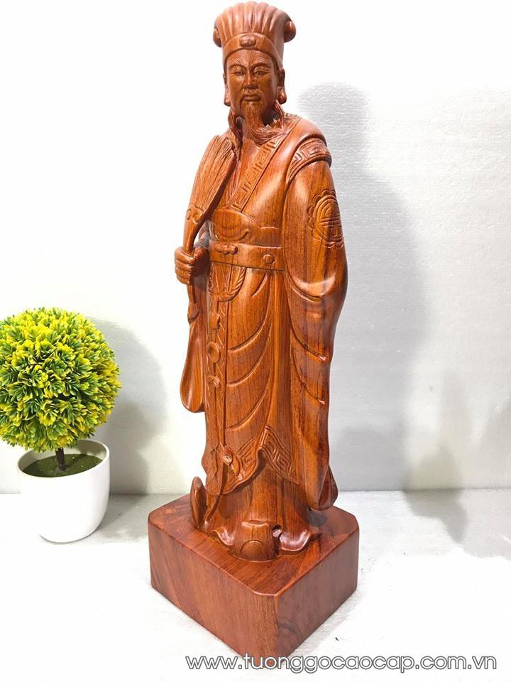Tượng Khổng Minh để bàn gỗ hương 50x16x14cm
