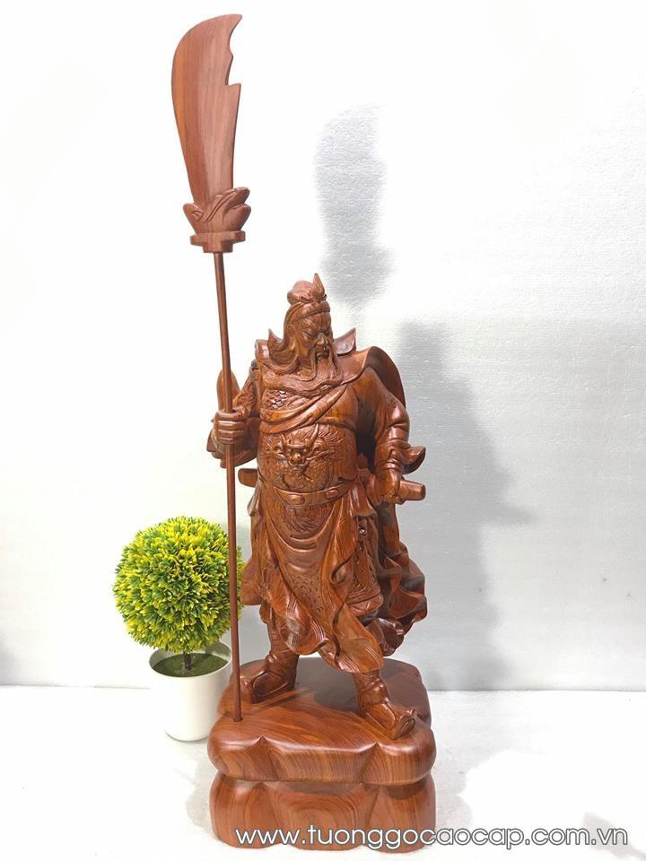 Tượng Quan Công gỗ hương 50x20x17cm