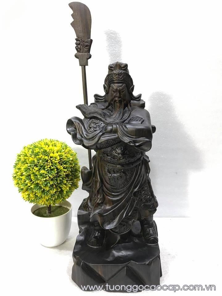 Tượng Quan Công để bàn gỗ mun hoa 40x17x14cm
