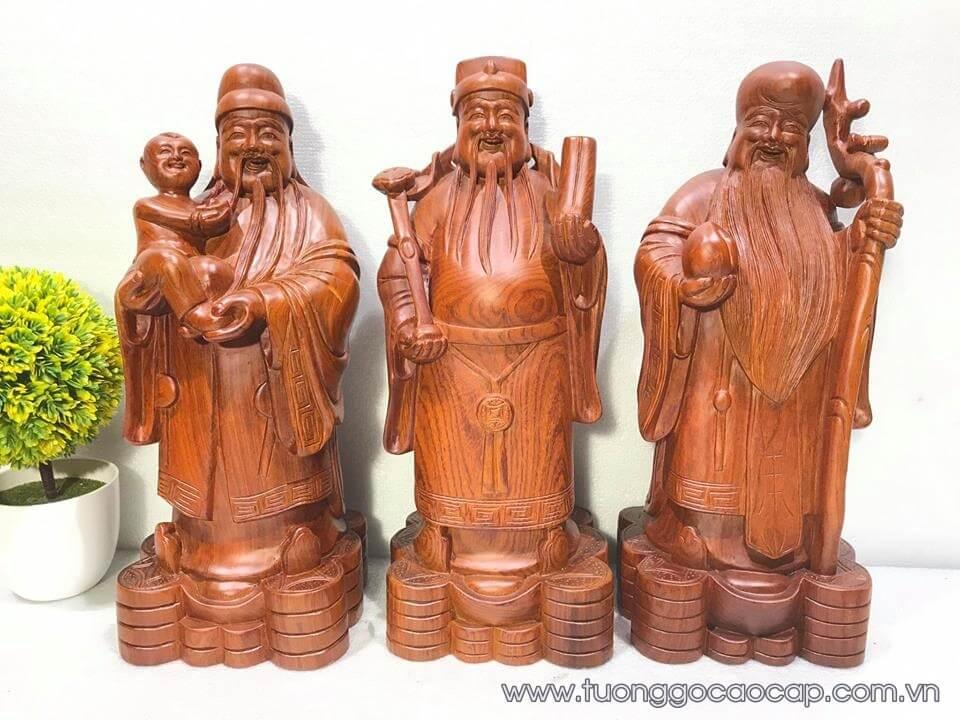 Tượng Tam Đa gỗ hương 40x15x14cm