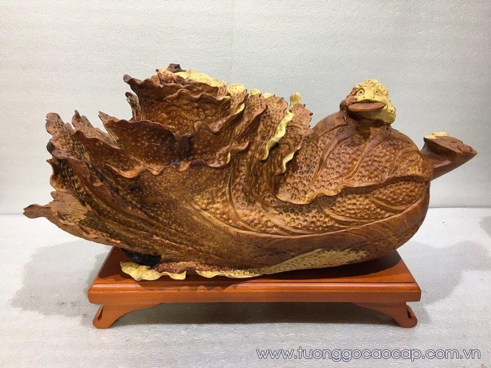 Cóc ngậm tiền bắp cải gỗ hương 25x58x21cm