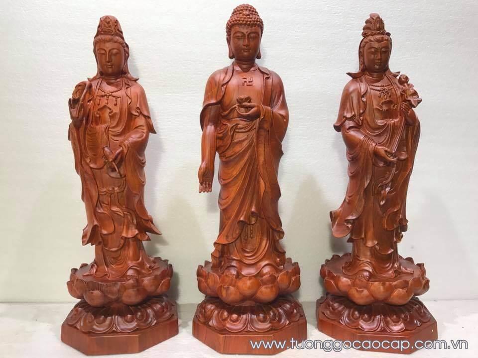 Bộ tượng Tam thế phật gỗ hương 60x21x21cm