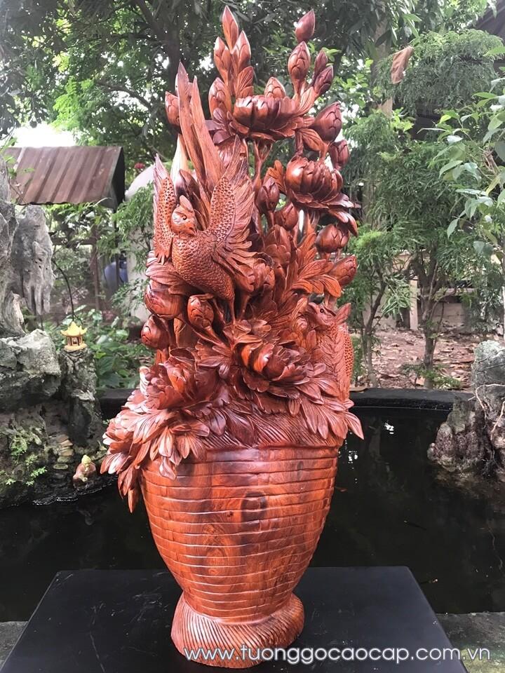 Phù dung chim trĩ gỗ hương liền khối 80x30x22cm