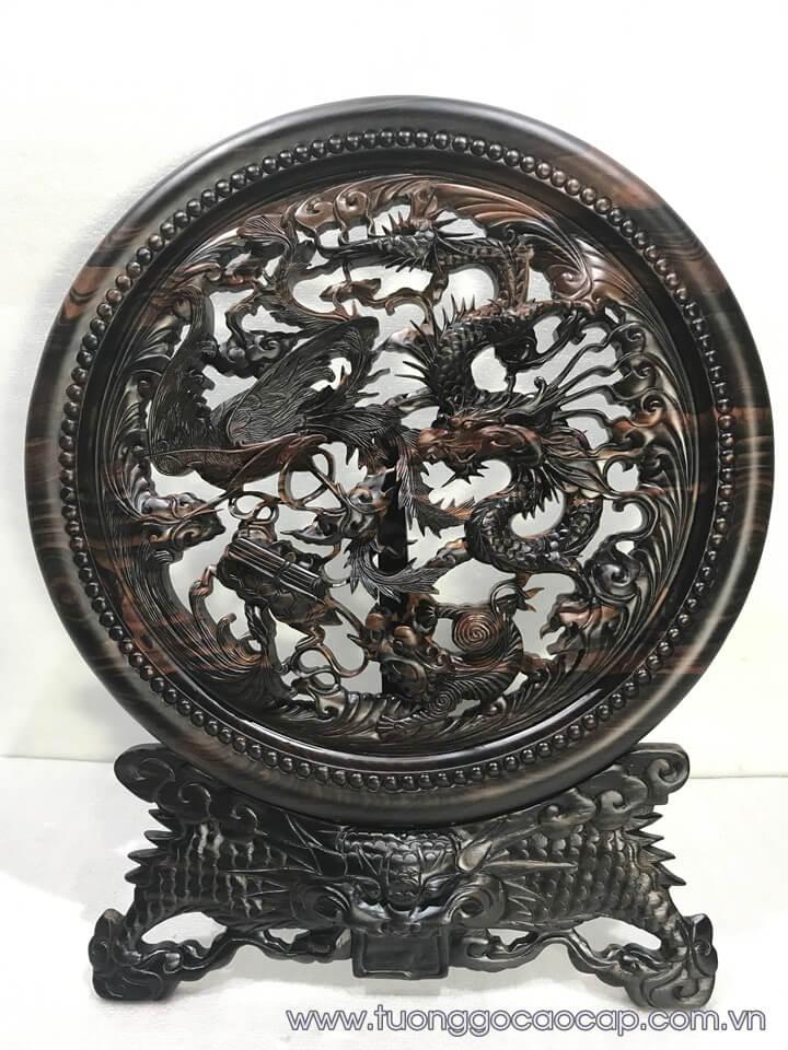 Đĩa Tứ Linh gỗ mun hoa đục tinh xảo 60x50x3.5cm