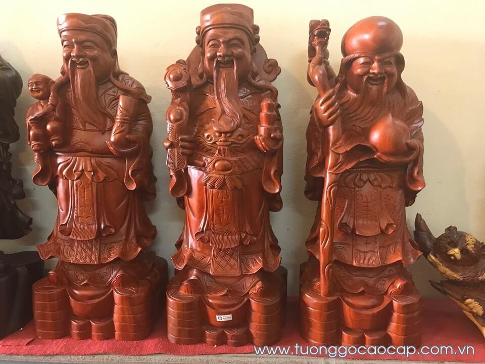 Tượng Tam Đa - Phúc Lộc Thọ gỗ hương 70x26x21cm