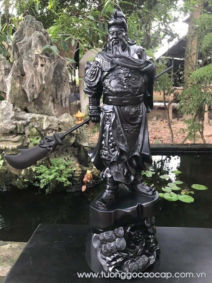 Tượng Quan Công gỗ mun sừng 60x19x16cm