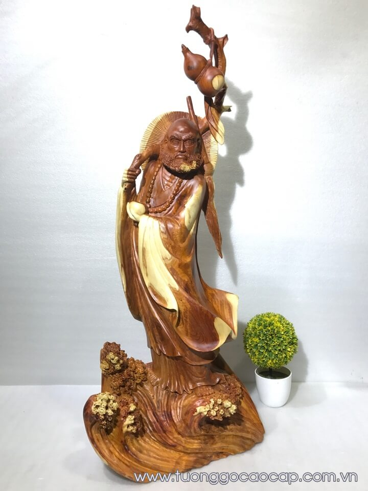 Tượng Đạt Ma quá hải gỗ hương 95x36x26cm