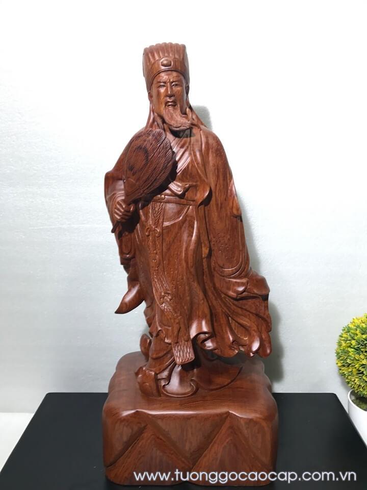 Tượng Khổng Minh - Gia Cát Lượng gỗ hương 60x24x17cm