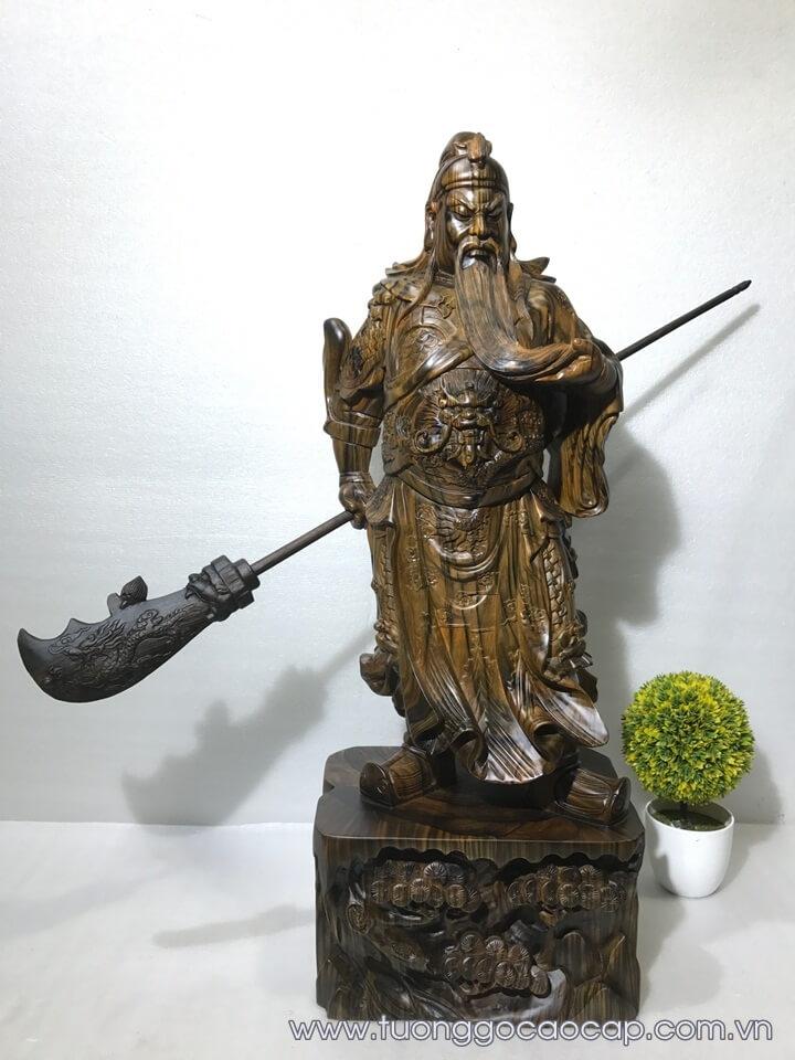 Tượng Quan Công gỗ mun hoa 80x30x22cm