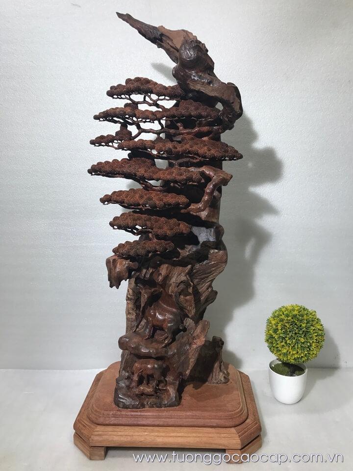 Bon sai tam dương gỗ trắc đục tinh xảo 81x28x23cm