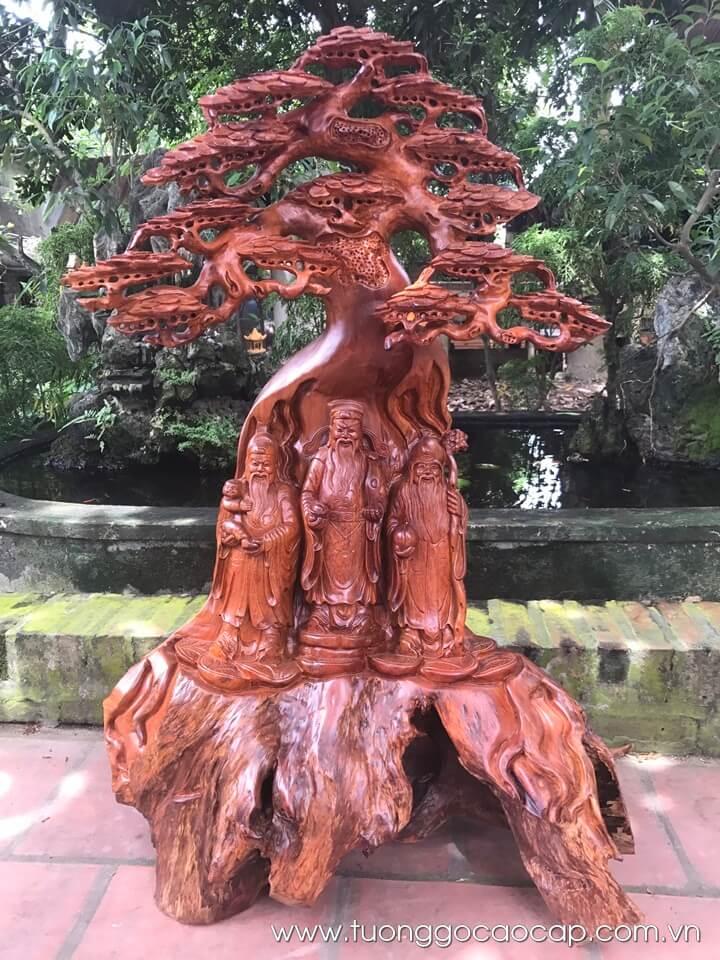 Tam Đa đứng gốc tùng gỗ hương 116x70x45cm