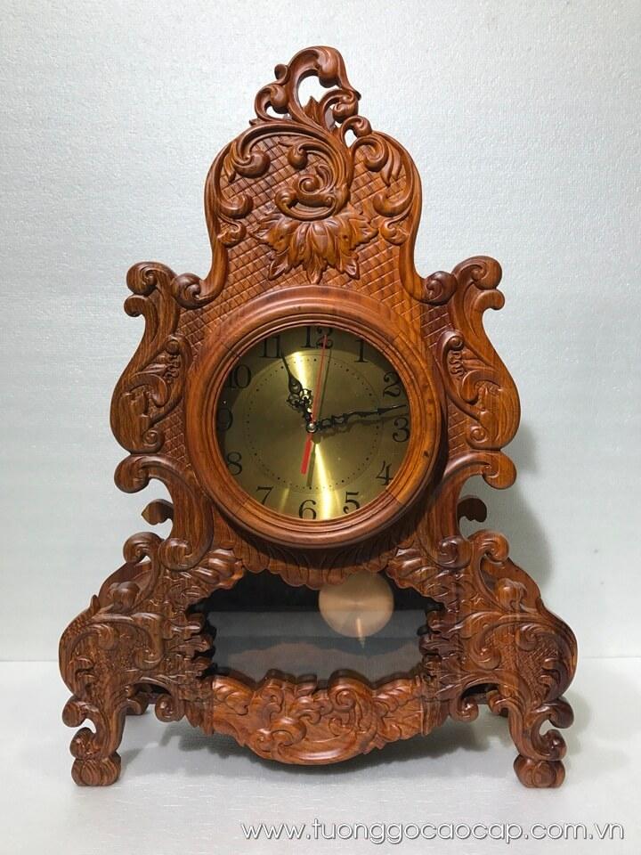 Đồng hồ quả lắc để bàn gỗ hương 65x46x16cm