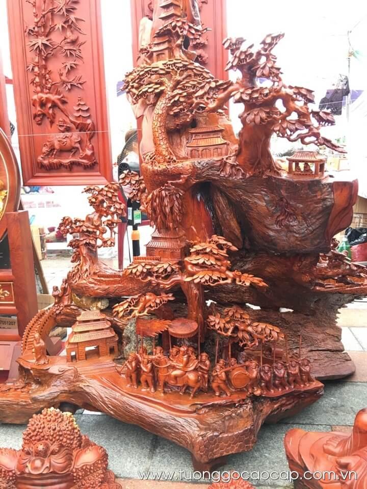 Vinh Quy Bái Tổ gỗ hương 150x170x90cm
