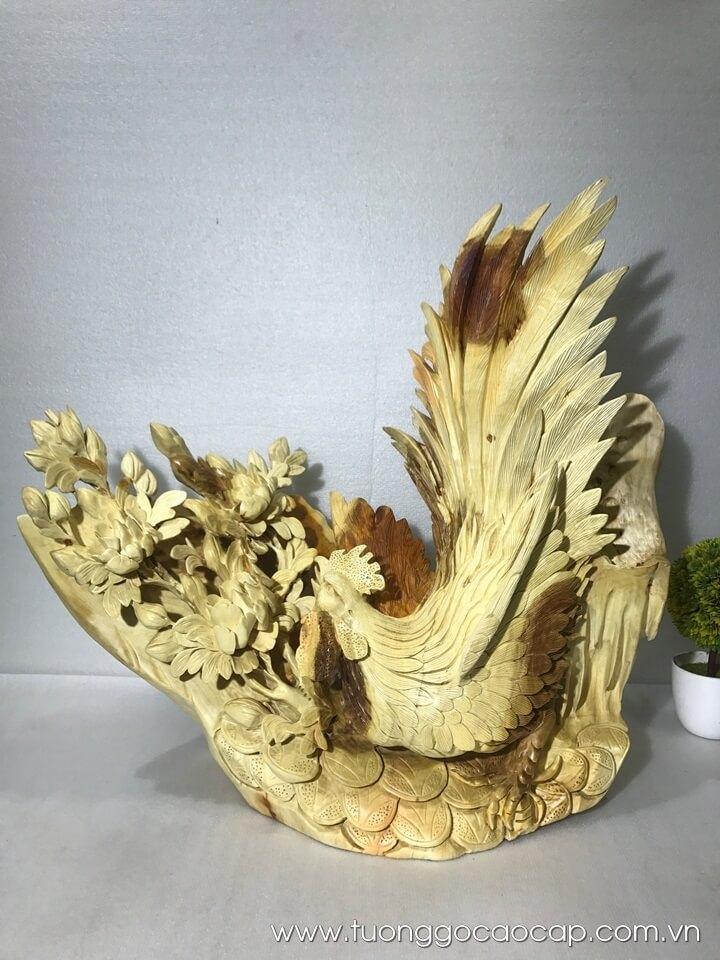 Gà trống cúc kê gỗ hương 68x60x30cm