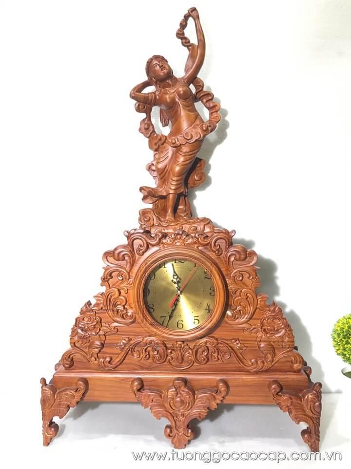 Đồng hồ cô tiên gỗ hương 106x63x22cm