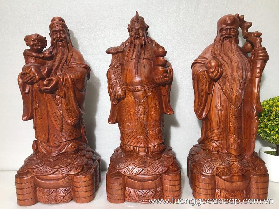 Tượng Tam Đa gỗ hương 50x20x17cm