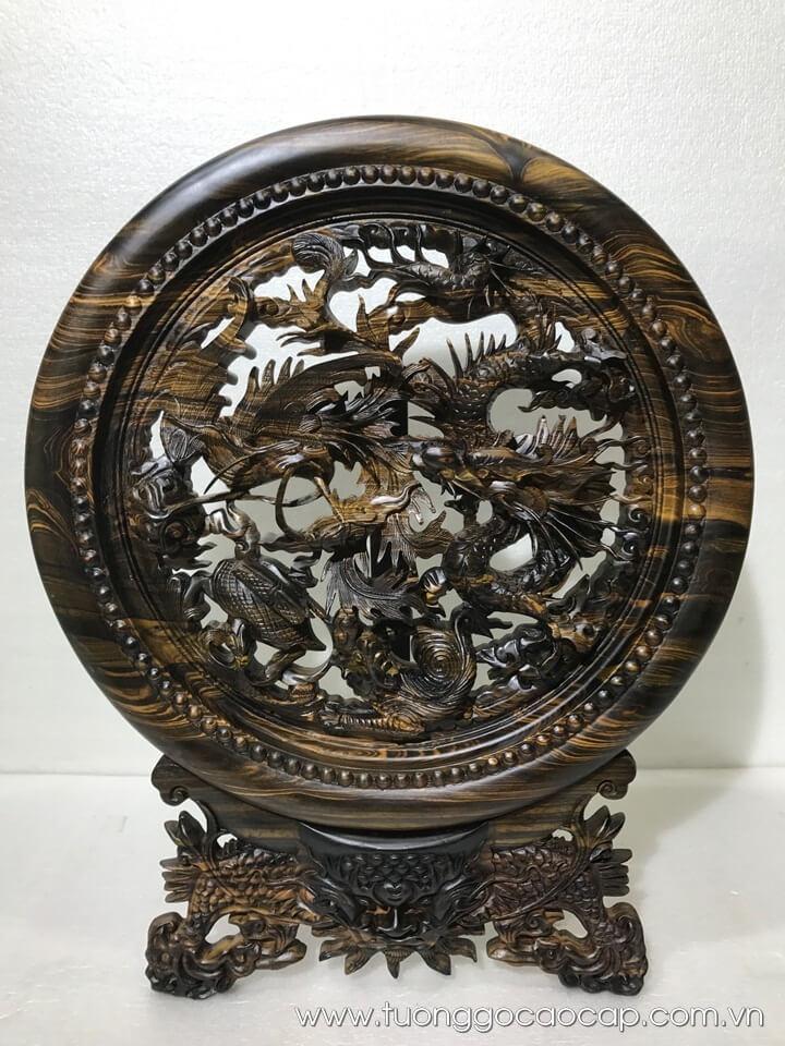 Đĩa tứ linh gỗ mun hoa đục tinh xảo 50x40cm