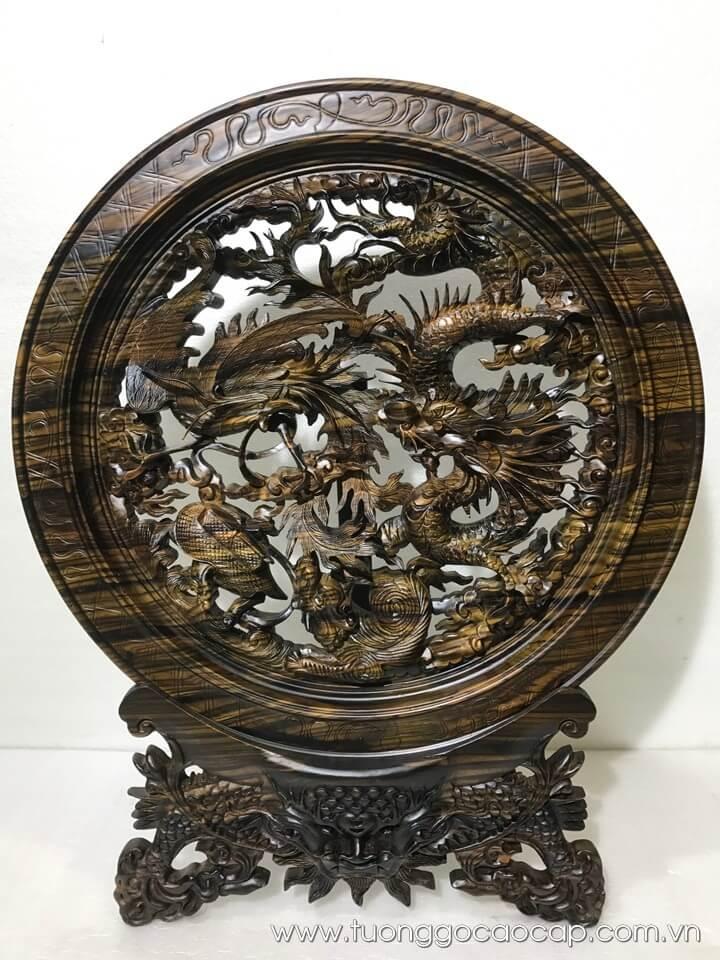 Đĩa tứ linh gỗ mun hoa đục tinh xảo 59x47cm