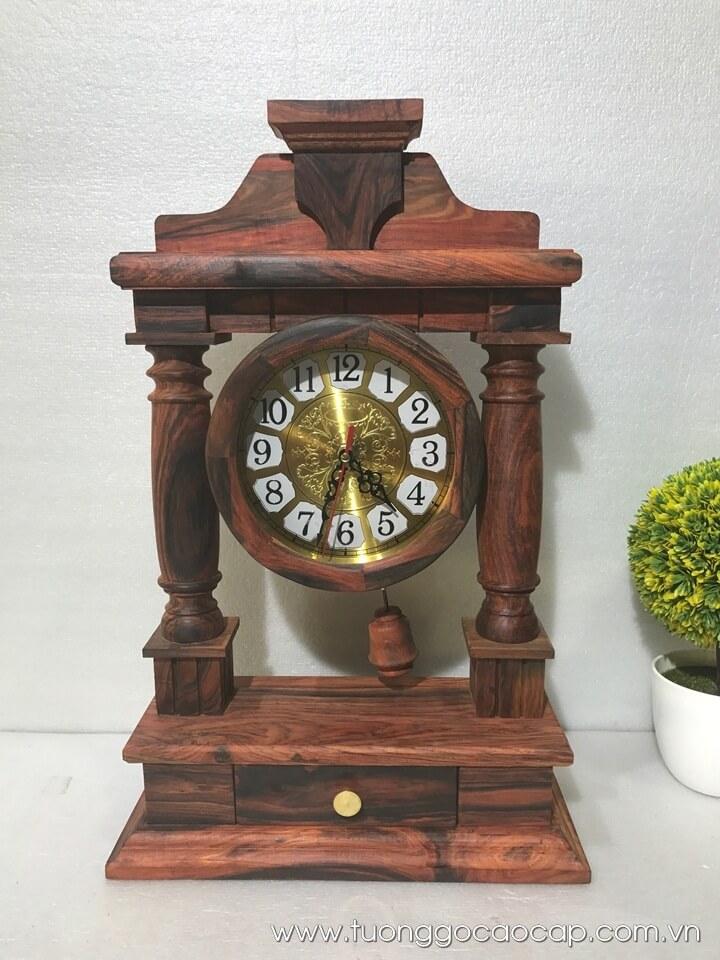 Đồng hồ quả lắc để bàn gỗ trắc 48x31x12cm