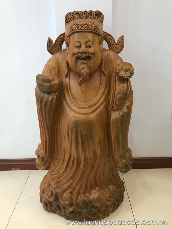 Tượng Thần Tài gỗ gù hương xá xị thơm 91x46x22cm