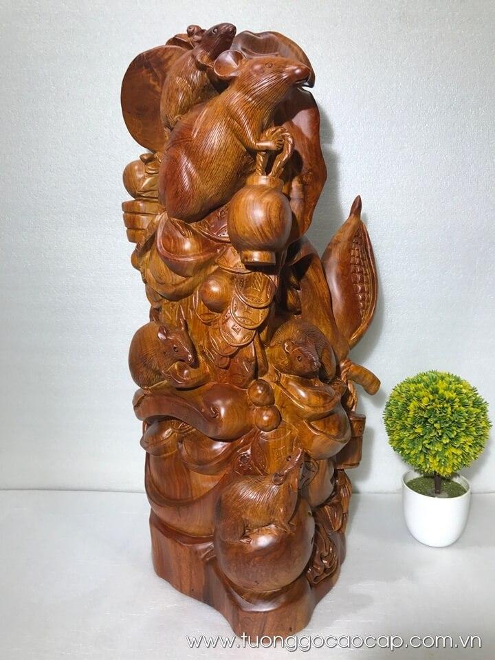 Gia đình chuột tiền vàng gỗ hương liền khối 70x37x27cm