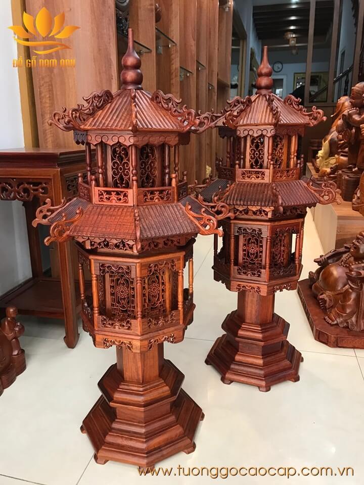 Cặp đèn thờ cao cấp gỗ hương 81x32x26cm