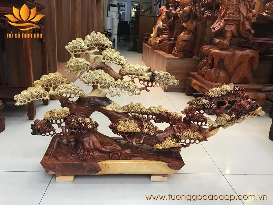 Bon sai gỗ hương đục tinh xảo 50x80x18cm