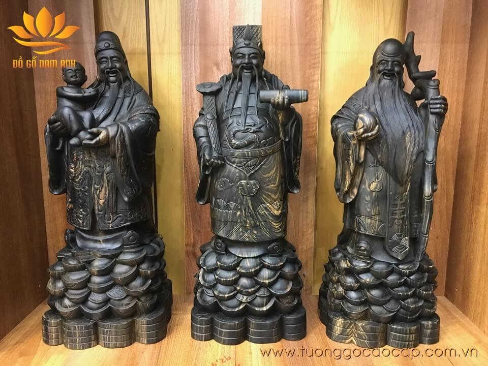 Tượng Phúc Lộc Thọ gỗ mun hoa 60x23x20cm