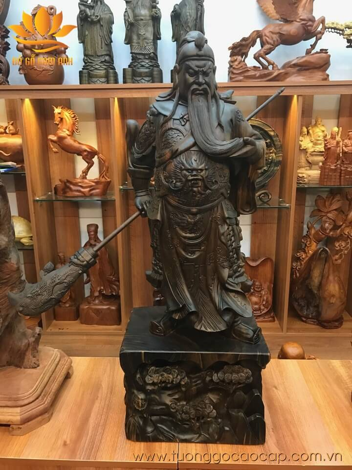 Tượng Quan Công gỗ mun hoa liền khối 94x33x22cm