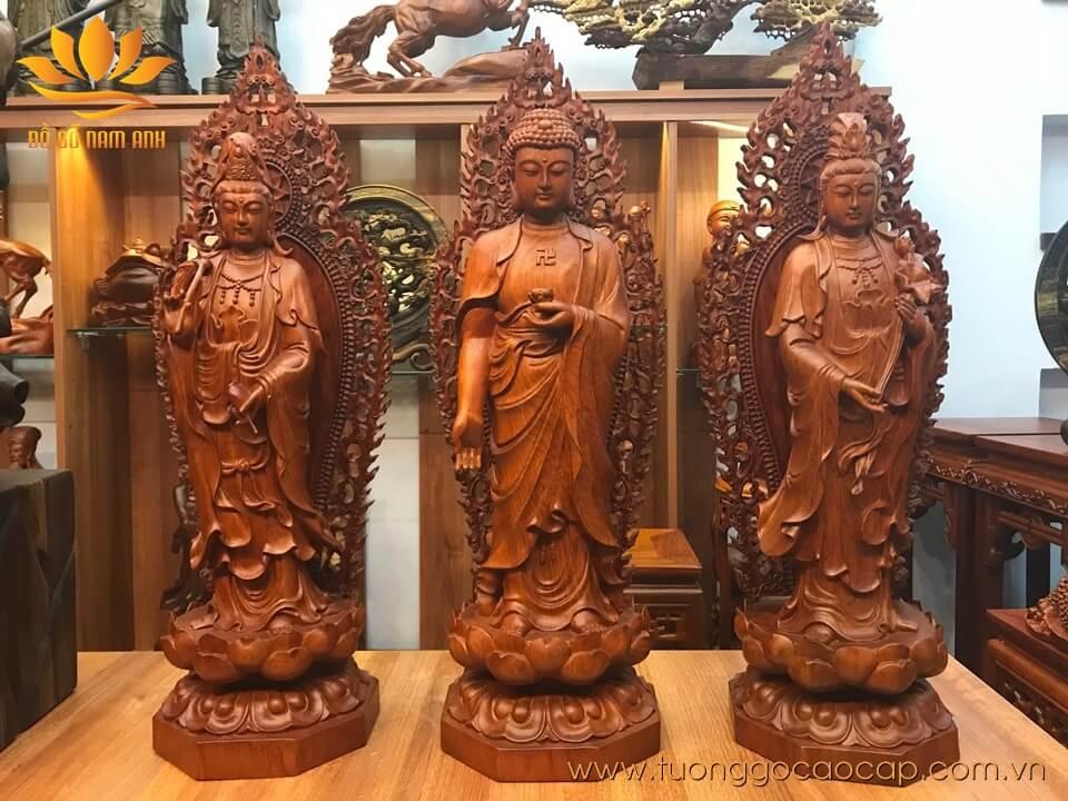 Bộ tượng Tây Phương Tam Thánh gỗ hương 60x21x21cm