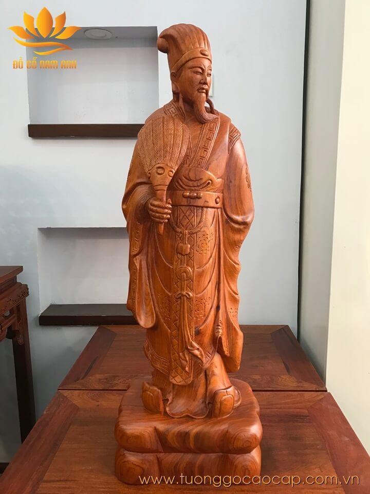 Tượng Gia Cát Lượng gỗ hương 70x23x17cm