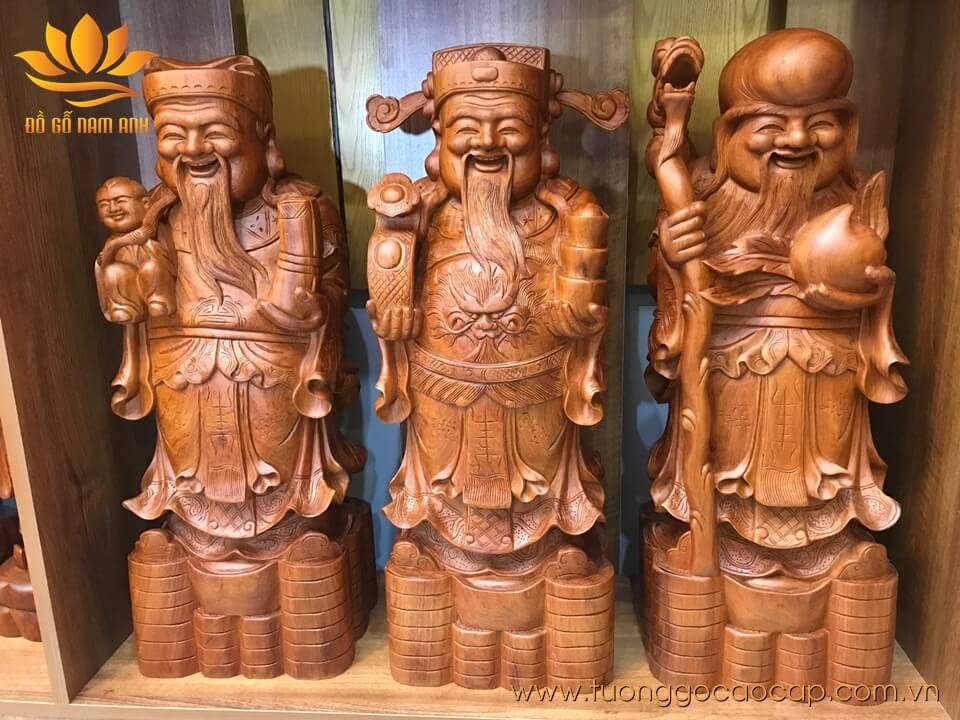 Tượng tam đa Phúc Lộc Thọ gỗ hương 70x25x20cm