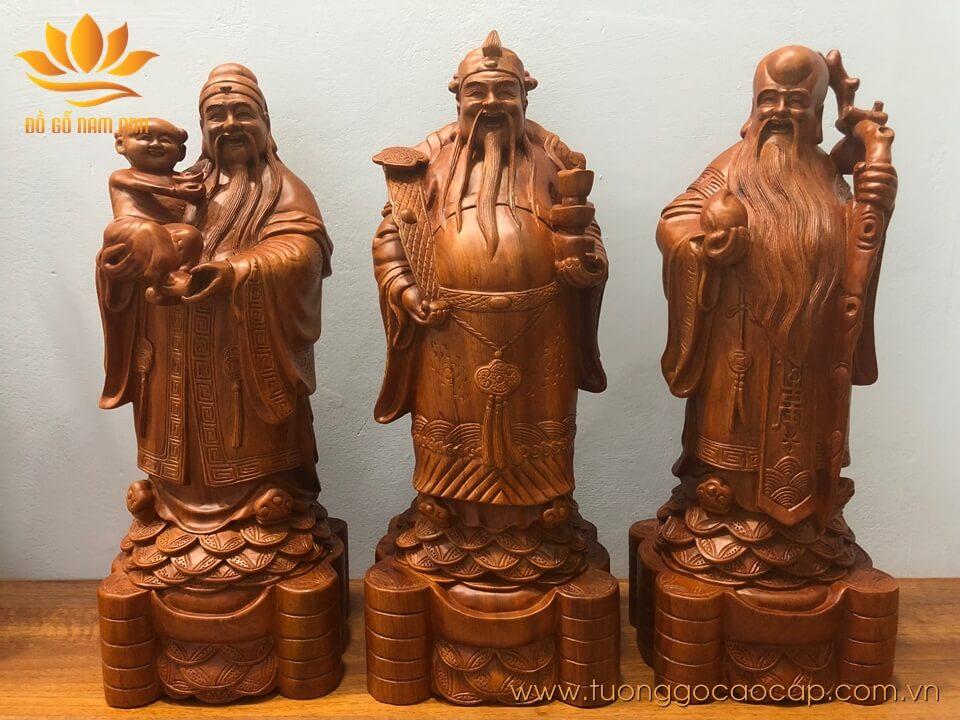 Tượng Tam Đa -  Phúc Lộc Thọ gỗ hương 50x20x17cm