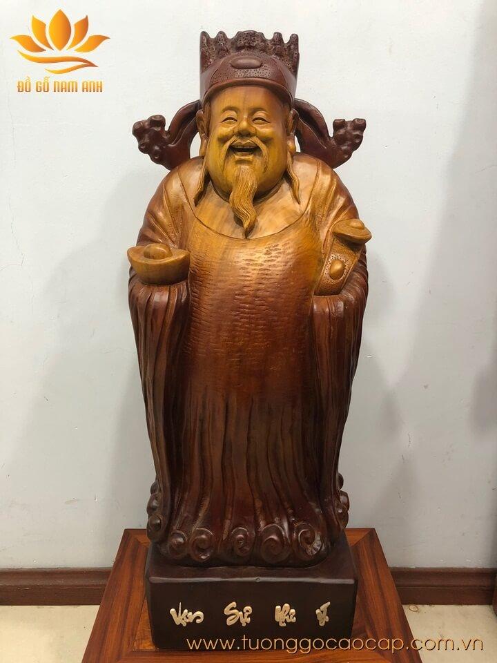 Tượng Thần Tài gỗ xá xị liền khối 90x32x23cm
